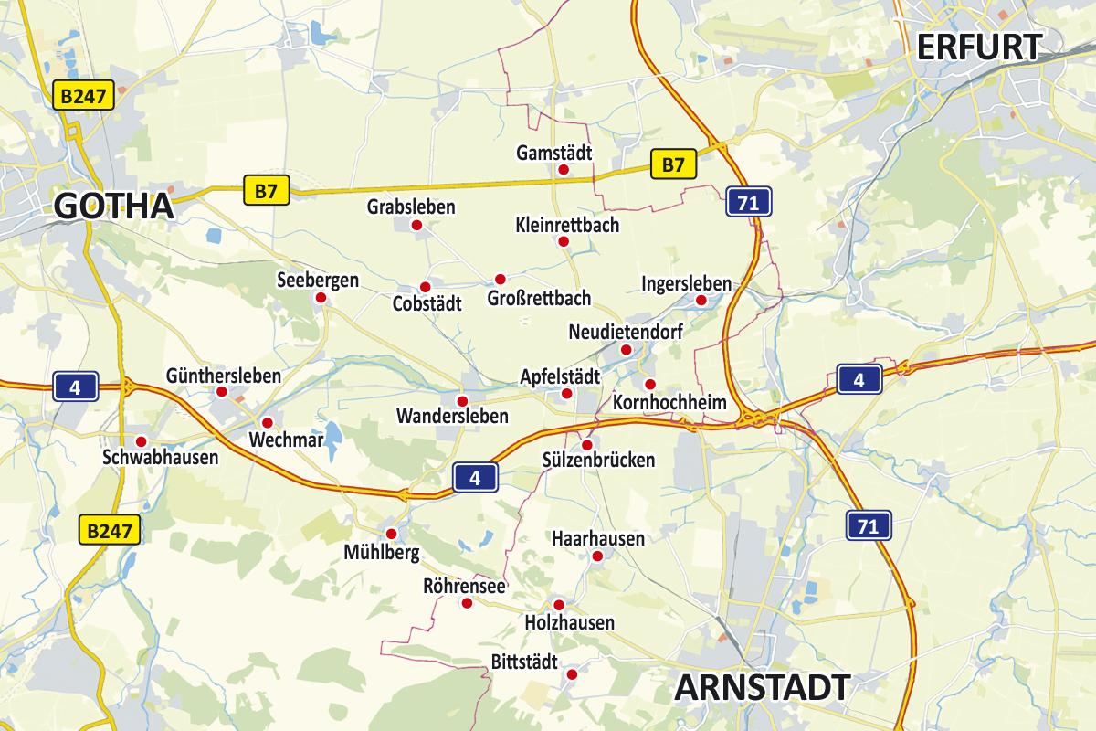 Burgen-Blick Karte Verteilungsgebiet